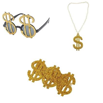 Baoblaze 3 Pz   Set Brillante Oro Segno Del Dollaro Collana Pendente  Gioielli Occhiali Anello Divertente Pimp Gangster Rapper Fancy Costume  Prop  Amazon.it  ... 6527d5d605cb