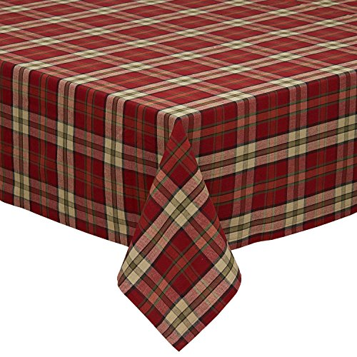 Campfire Plaid Square Tablecloth, 100% Cotton with 1/2 Hem for Holiday, Family Gatherings, & Christmas Dinner (52x52 - Seats 4)