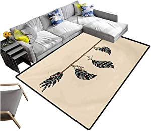 "Arrows Floor Mat Arrow Figure in al Pattern with Feathers Native Tribal Design Print for Dining Room Living Room Home Decoration Beige Brown and Black (6'6""x10')"