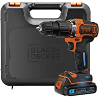 BLACK+DECKER 18 V Lithium-Ion Smart Tech Hammer Drill Driver with Kit Box