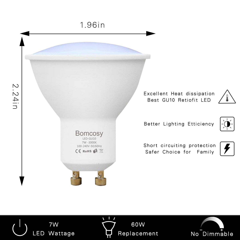 Bomcosy 7W GU10 Bombillas LED 60W Halógenas Equivalente no Regulable Blanco Calido 600 lúmenes Foco Empotrable para Hogar Paisaje Pista Galerías de Arte 10 ...