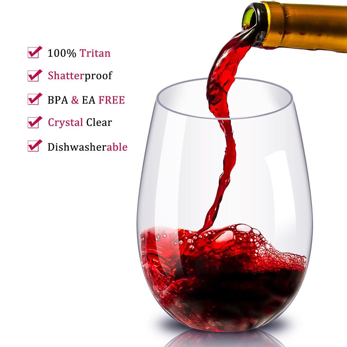 Kuke Unbreakable Red Wine Glasses,100% Tritan Plastic Wine Glasses for Party,BPA Free,Dishwasher Safe,16 oz (450ml)