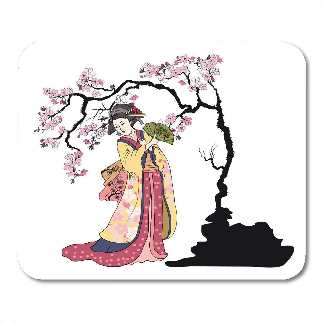 Almohadillas para ratón Las mujeres Geisha tienen ventilador ...