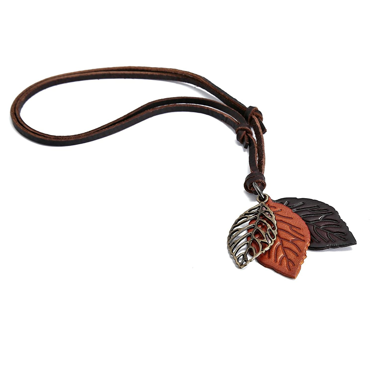 Adisaer Jewelry Leather Neckalce for Mens Gold Leaf Pendant Women Stainless Steel Necklace