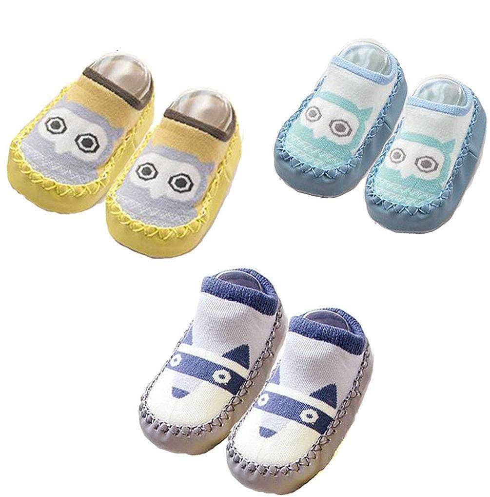 JXUFUFOO 3 Pairs Baby Slipper Anti-Slip Socks Shoes 0-24 Months