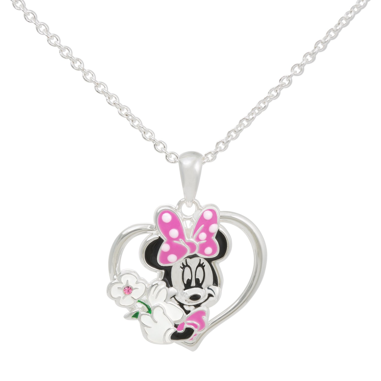 Disney Minnie Mouse Heart Silver Plated Crystal Pendant Necklace, 18'' Mickey's 90th Birthday Anniversary