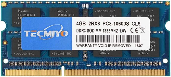TECMIYO 4GB DDR3 1333MHz PC3-10600 PC3-10600S Non ECC Unbuffered 1.5V CL9 2RX8 Dual Rank 204 Pin SODIMM Laptop Notebook Computer Memory Ram Module