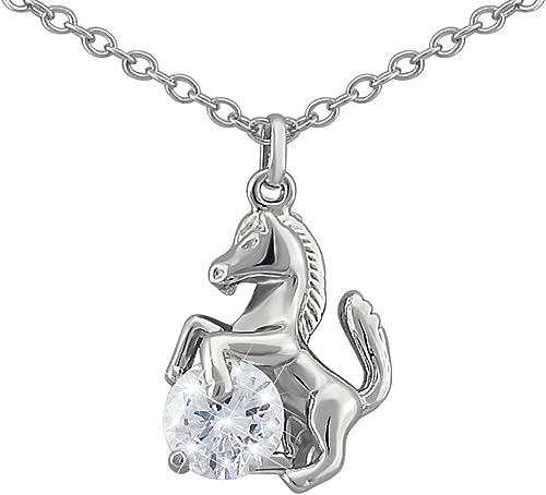 Hanessa Pferde Halskette in Silber Strass Stein Mädchen Schmuck Tier Liebhaber Reiten Pony