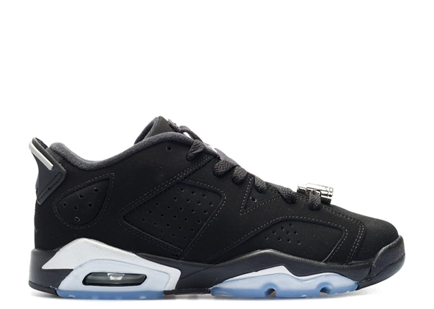 521119f418631 Nike Boys Air Jordan 6 Retro Low BG Chrome Black/Metallic Silver-White  Leather
