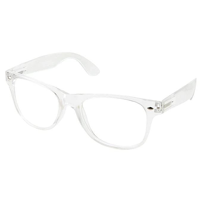 a3e45b5948e Amazon.com  grinderPUNCH Crystal Clear Frame Lens Transparent Sunglasses  Eyeglasses 2 Pack  Clothing
