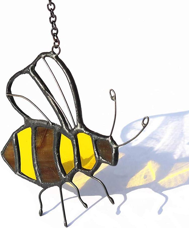 HAOSUM Bee Stained Glass Honeybee Window Hangings Ornament Suncatcher 3.35×2.36 inch