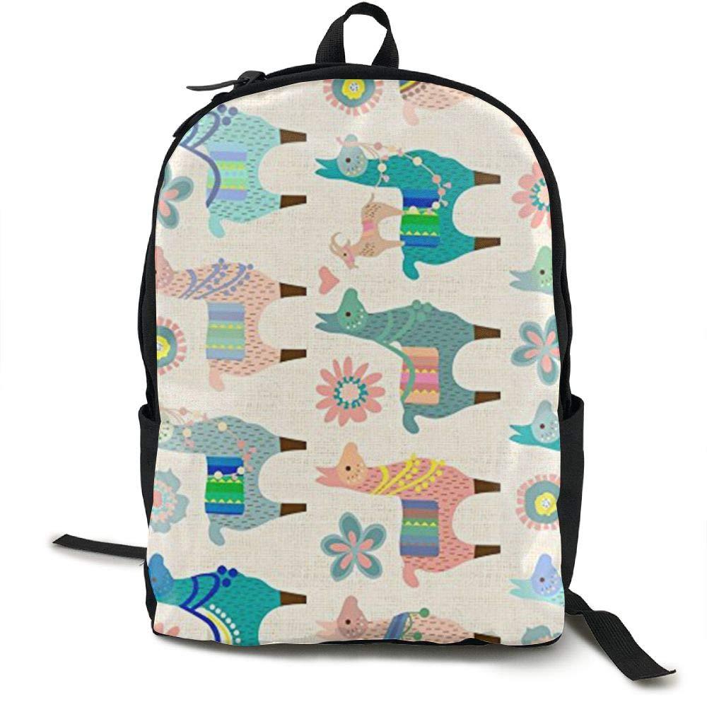 Mwsgs90 Laptop Backpack Colorful Llama Fun Computer Bag College School Backpack Unisex