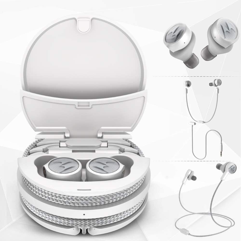 Motorola Tech 3-3-in-1 Smart True Wireless Headphones - Cordless Earbuds, Sport Wire, Audio Plug-in - IPX5, Built-in Microphone, Magnetic Charging Case with Cable Storage System - Platinum White