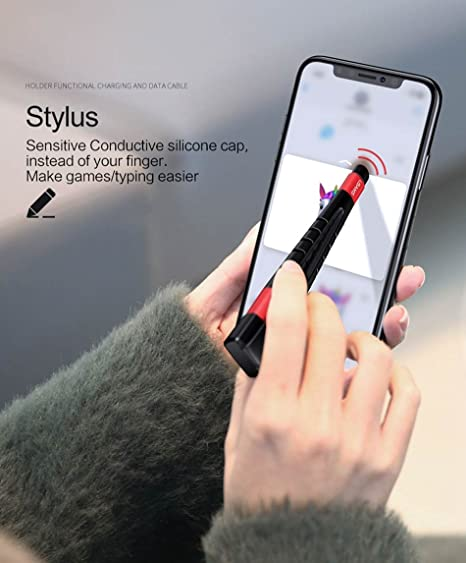 USAMS Touch Pen Phone Holder USB Cable for iPhone 5s se 6 6s 7 8 Plus X  Data Sync Charging Cable for Apple iOS 11 Stylus 5V/2A (Black)