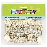 Unique Party 86932 - Monete del Tesoro di Plastica, Confezione da 144, Dorato