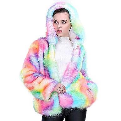 ce80c6116d01 Shilanmei Women Faux Fur Coat Rainbow Color Winter Fluffy Wrap Thick ...