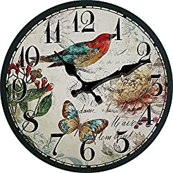 LOVE(TM)14inch Wooden Clock Shabby Chic Retro Arabic Numeral Bird butterfly Flower Pattern Wooden Wall Clock Kitchen Livingroom Bedroom Decoration(14,J)(NON-TICKING,NO GLASS COVER,NO FRMAE)