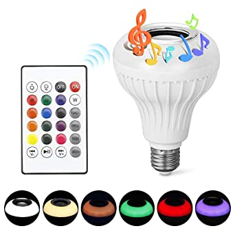 Yino - Bombilla LED E27 de colores inteligentes, mando a distancia, luces LED multicolor con altavoz Bluetooth, ...