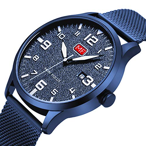 Men's Analog Quartz Watch with Numbers Date Waterproof Blue Stainless Steel Mesh Band Fashion Casual Dress Wrist Watches for Men ()