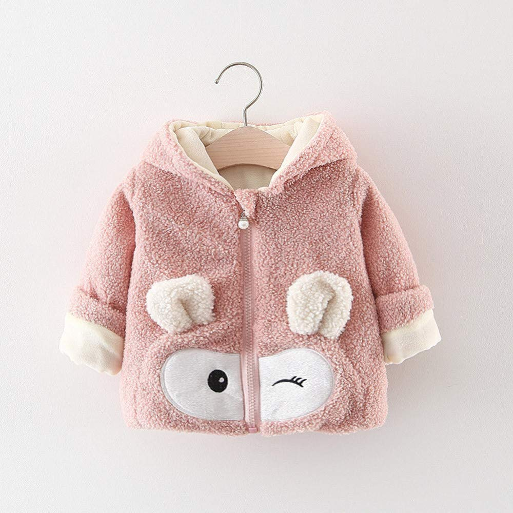 KONFA Toddler Baby Girls Boys Winter Warm Clothes,Cartoon Hooded Coat,Kids Outwear Cotton Jacket Set,for 0-3 Years