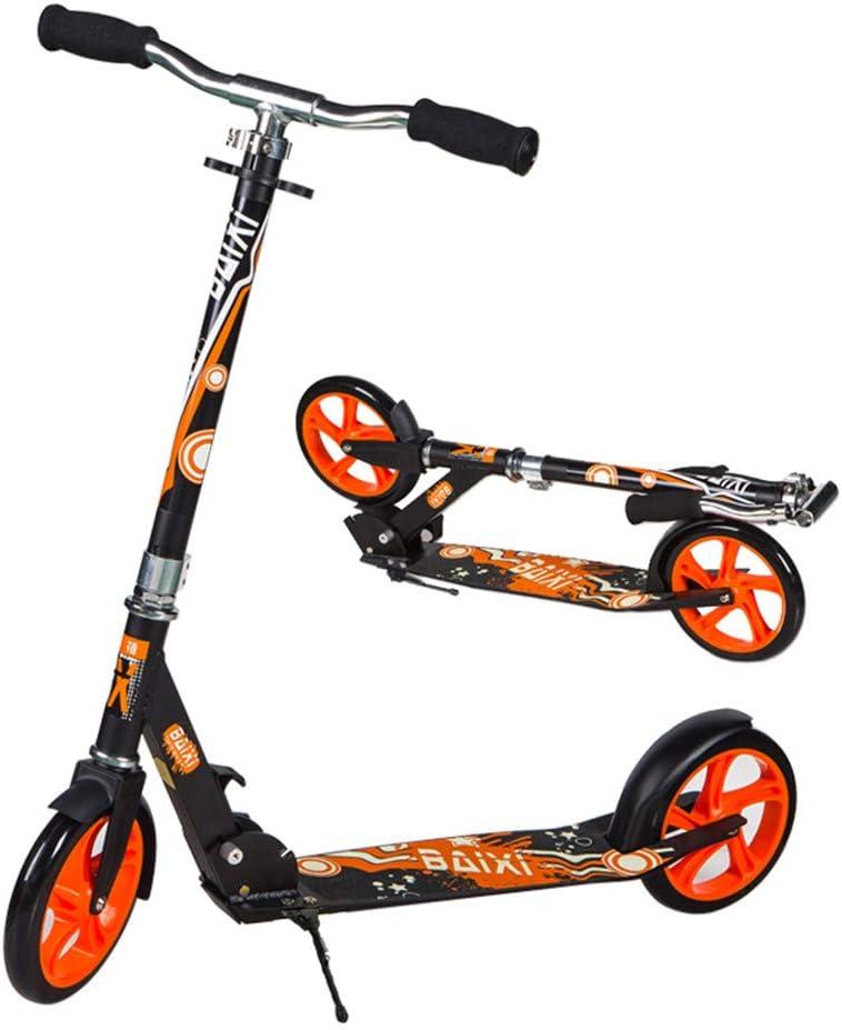 大人のためのスクーター - キックスクーター、折りたたみ式のデザイン、フットブレーキ、高さ調整可能、ビッグホイールスクーター、体重220ポンドのサポート、女性に適し、街中を旅行する10代の若者(電気ではありません),オレンジ オレンジ