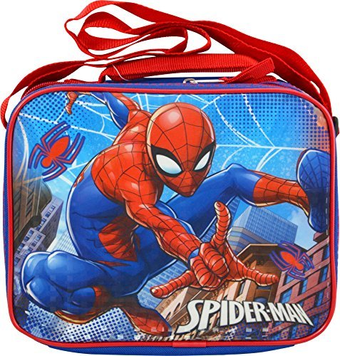 Spider Man Lunch (Marvel Spiderman Soft Rectangle Lunch Bag with Top Handle and Shoulder Strap)