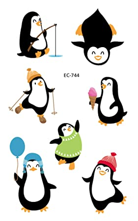 Serie de pingüinos Etiqueta engomada del tatuaje Dibujos animados ...