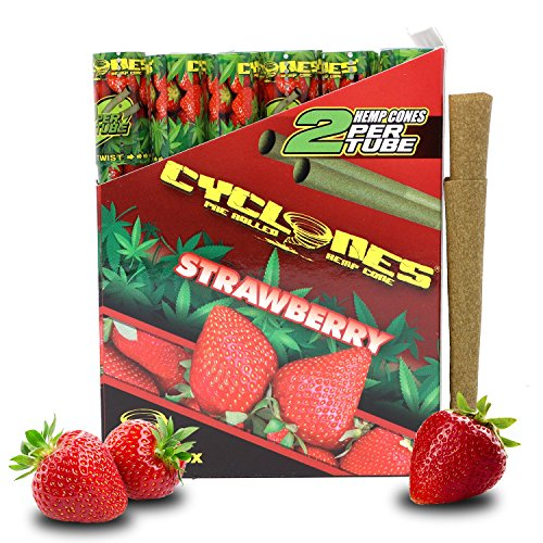 Cyclones Strawberry Pre-Rolled Flavored Hemp Wraps (12 Packs, 2 Wraps Per Pack) Total 24 Wraps and ES Scoop Card by Cyclones, ES Distributions