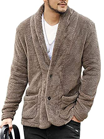 708e670e927 Image Unavailable. Image not available for. Color  Mens Faux Fur Cardigan  Fuzzy Fleece Jacket ...