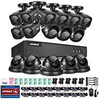 ANNKE® 16CH 720P HD-TVI Security Camera System and (16) 1280TVL 1.0MP Weatherproof CCTV Cameras, P2P Technology, Smart Search/Playback