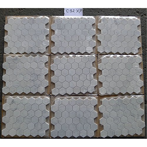Carrara White Italian Carrera Marble Hexagon Mosaic Tile 2