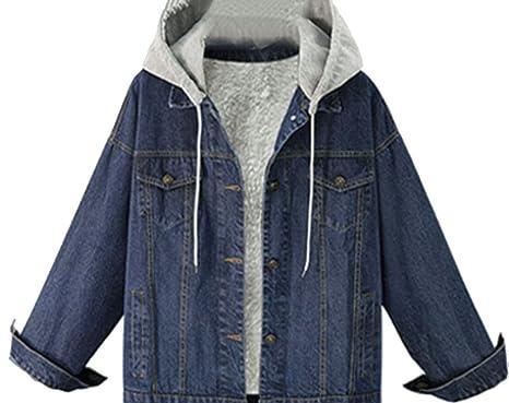 9c5d7e0aca4 ouxiuli Women s Lambs Wool Button Down Hoodies Denim Jackets at ...