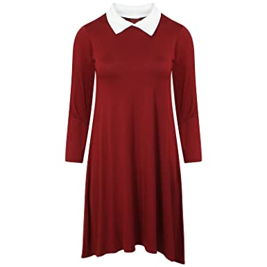 9b3b3e3d4bf2 Get The Trend Womens White Collar Plain Swing Dress Ladies Long Sleeve  Skater Flared Dress Top (S M 8 10 UK