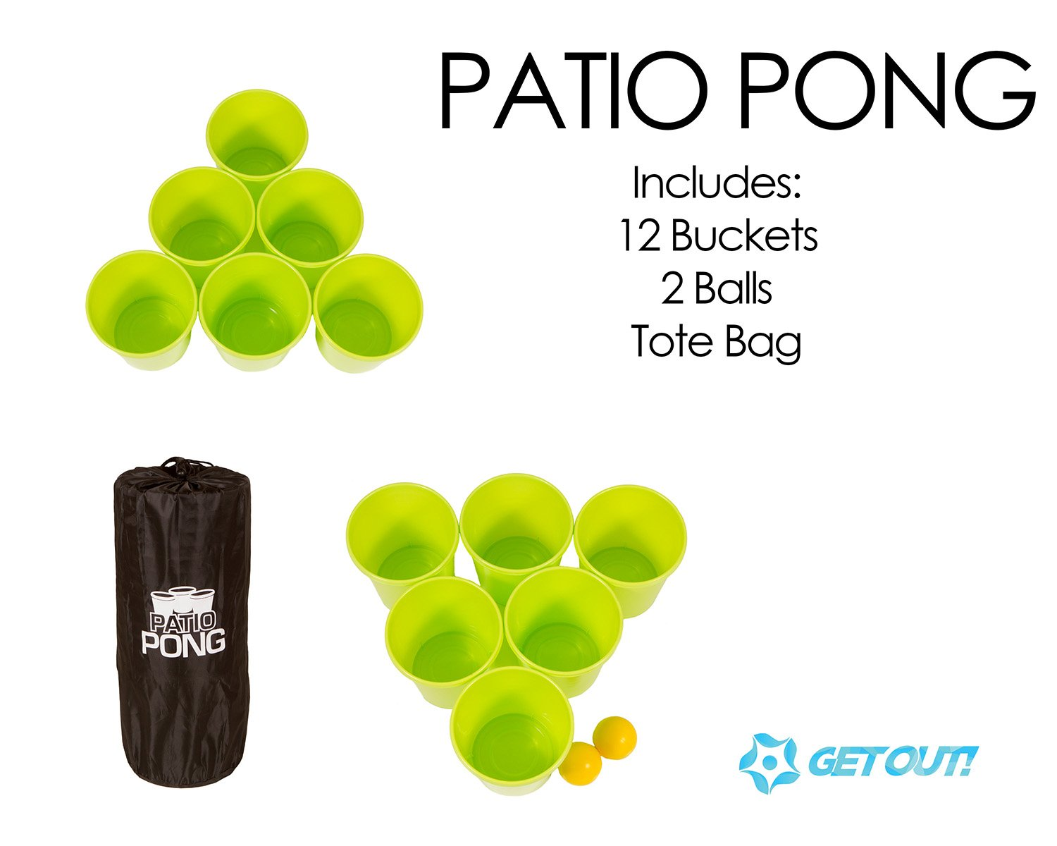 Get Out! Patio Pong – Giant Yard Beer Pong Set for Outdoor Fun – 12 Buckets, 2 Balls, 1 Drawstring Carrying Bag by Get Out! (Image #2)