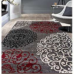 "Rugshop Contemporary Modern Floral Indoor Soft Area Rug, 5'3"" x 7'3"", Red"