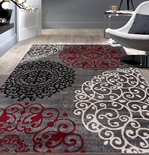 (Rugshop Contemporary Modern Floral Indoor Soft Area Rug, 7'10