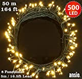 Fairy Lights 500 LED Warm White Outdoor Christmas Tree Lights String Lights - 8 Functions 50m / 164ft Power/Mains Operated Ideal for Christmas Tree Festive Wedding Birthday Party & Bedroom Decorations Indoor & Outdoor use - GREEN Cabl
