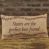 Sisters Perfect Best Friend 6 x 12 Burlap Decorative Throw Pillow