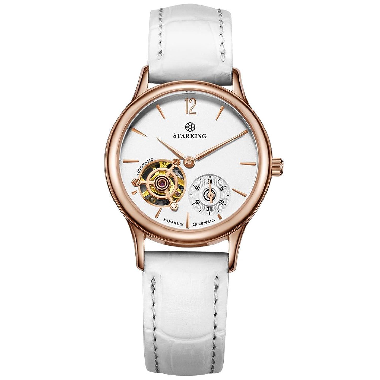 Starking Damen al0213rl11 Automatische Mechanische Skelett Armbanduhr mit Weiß Geneva Leder Band