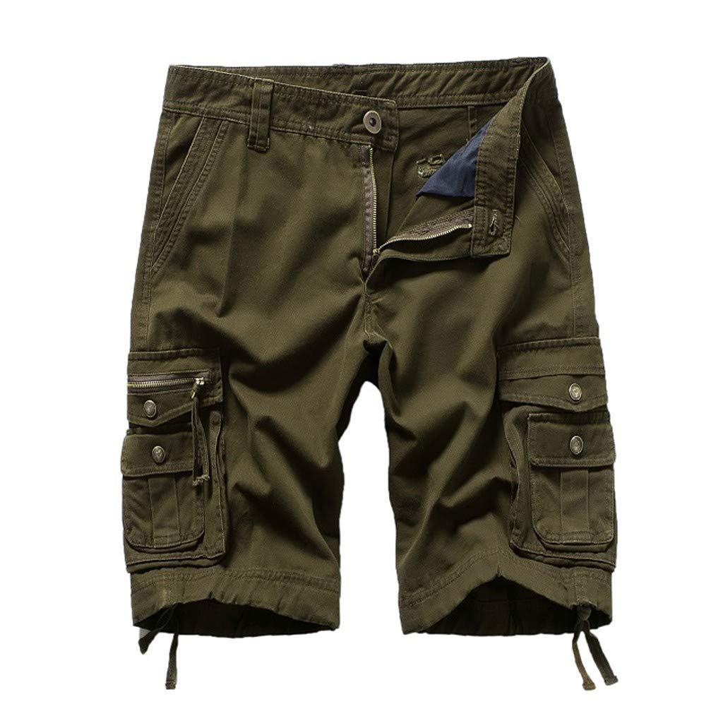 Clearance! Men 's Cargo Shorts,Male Summer Baggy Shorts Solid Outdoors Muti Pockets Zipper Button Short Pants