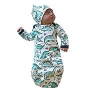 C&M Newborn Infant Baby Girls Boy Cartoon Dinosaur Pajamas Gown Swaddle Hats 2Pcs Outfits (White, 0-6 Months)