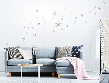 I Love Wandtattoo WAS 12039 Wohnzimmer Wandtattoo Setu0026quot;Bunte Schwalben  In Zarten