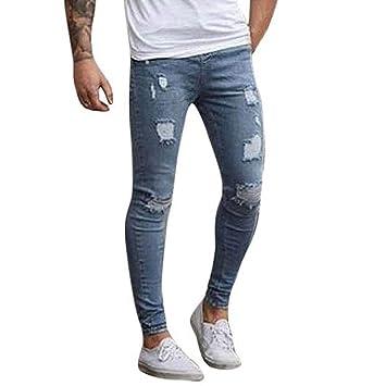 f56bbc3843 pantalones rotos largos vaqueros Sannysis hombres vaqueros pantalones  hippie harem pantalones de deportivos con bolsillos slim