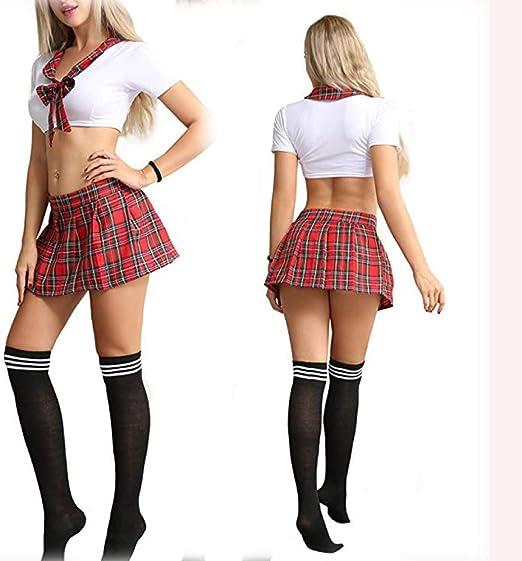 zysymx Falda Plisada Cosplay Escuela niñas Uniforme Disfraz ...