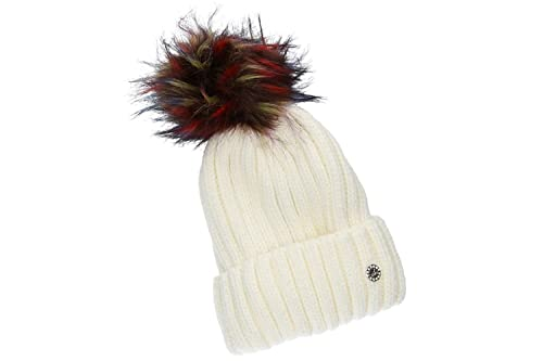 Sombrero mujer GIANMARCO VENTURI blanco gorra con pompon y solapa 100% acrílico