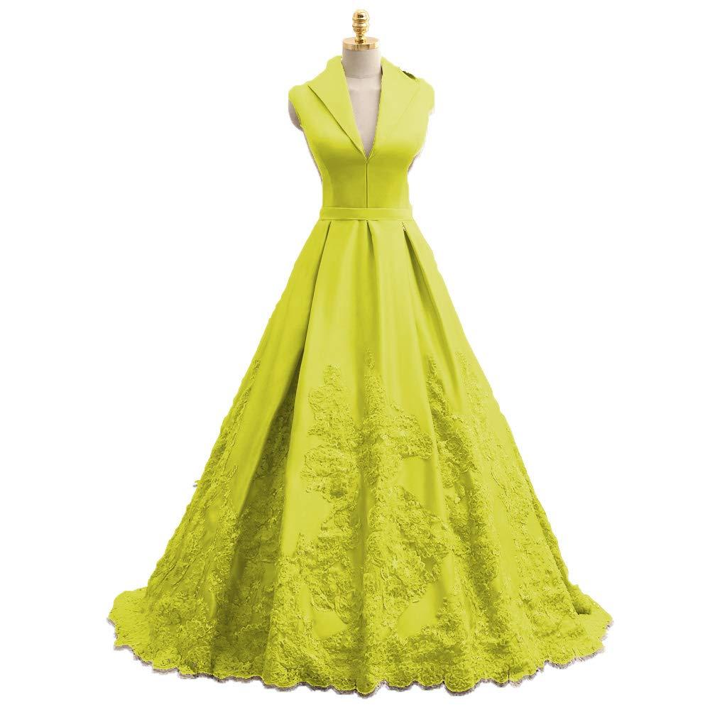 Yellow MariRobe Women's Lace Applique Quinceanera Dress V Neck Prom Dresses A line Satin Evening Dress Sweet 16 Dress Prom Gown