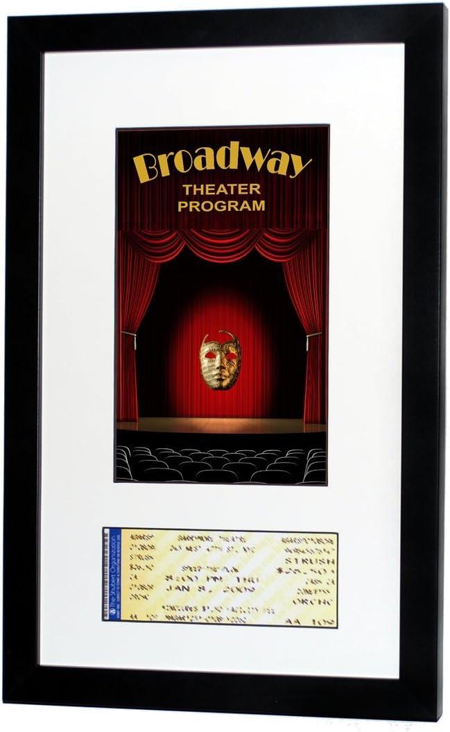National Frames Broadway Playbill Ticket Frame (Program - Ticket, Satin Black- White Mat)