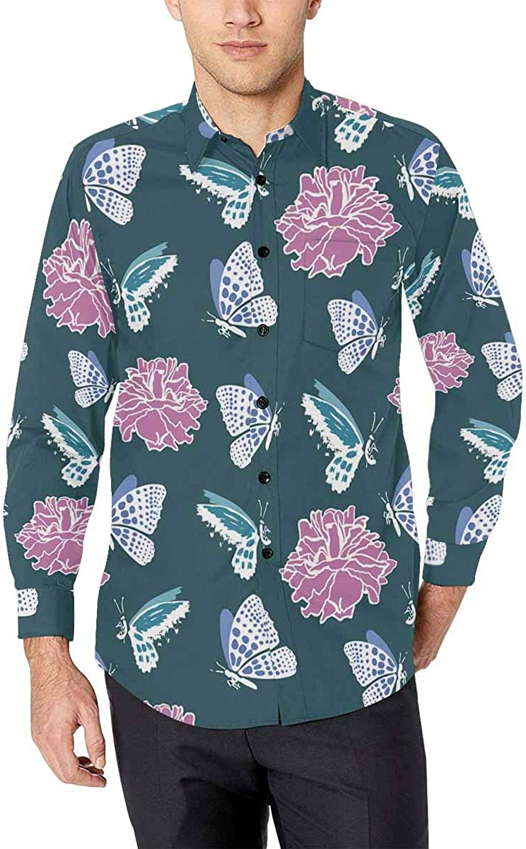 INTERESTPRINT Mens Slim Fit Casual Button Down Long Sleeve Shirt Butterfly Flowers