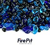 Pacific Night - Blended Fire Glass Dots for Indoor and Outdoor Fire Pits or Fireplaces | 10 Pounds | 3/8 Inch