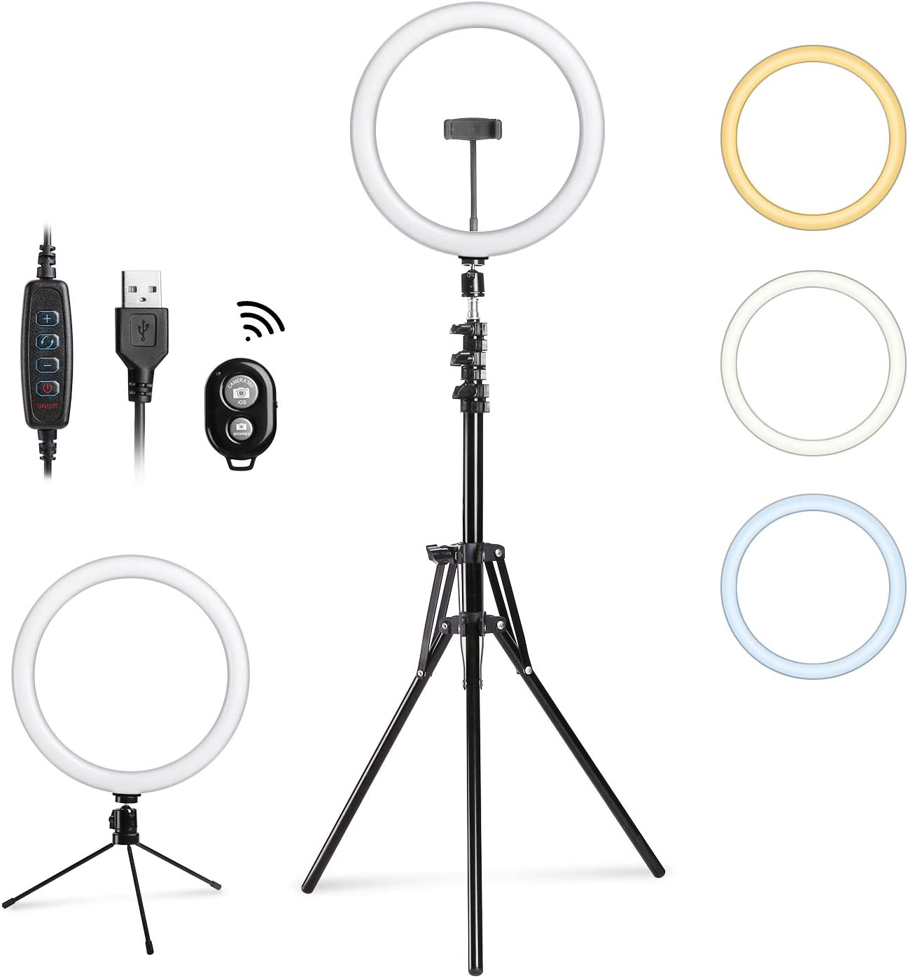 "Entil 12"" Selfie Light Ring Light Mini LED Camera Lighting with Tripod and Cell Phone Stand for Video Shooting/Photography Livestream Beauty in Home Office Outdoor, Compatible with iOs Android"